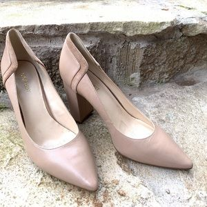 """NINE WEST nude tan leather heels """"this time"""""""